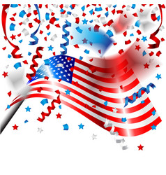 American flag with confetti for independence day vector