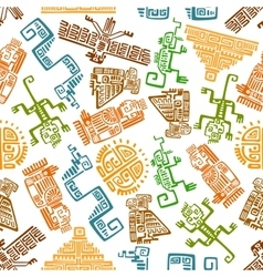 Ancient mexican seamless pattern with mayan totems vector
