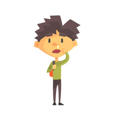 Boy in green sweater with running nose primary vector
