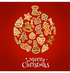 Christmas ball symbol with gingerbread cookie vector image vector image