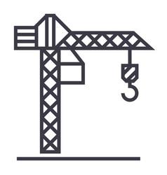 construction crane line icon sig vector image vector image