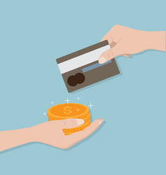 credit card in hand change to money vector image vector image