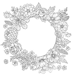 doodle flowers round vector image