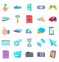 File sharing icons set cartoon style vector