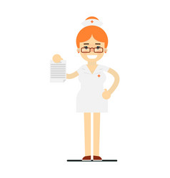 friendly young nurse in medical uniform vector image vector image