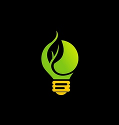 Green light bulb eco energy logo vector