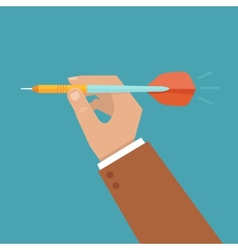 Hand holding dart vector