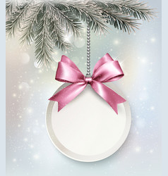 Holiday background with a label and a bow vector image