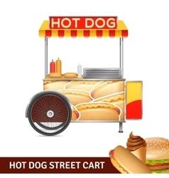 Hot dog street cart vector