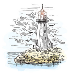 Island with rocks and lighthouse building vector