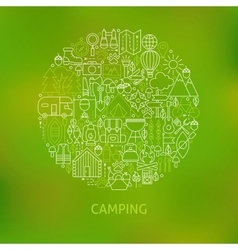Line Camping Icons Circle Concept vector image