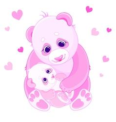 Mom and baby bears vector