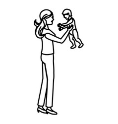 Mom holding baby playing image line vector