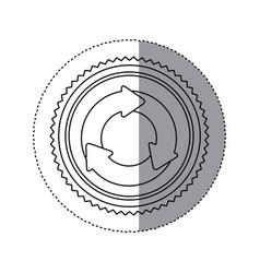 Monochrome contour sticker with circular recycling vector