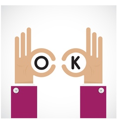 Ok hand sign Business and vision concept vector image vector image