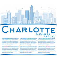 Outline charlotte skyline with blue buildings and vector