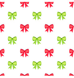 red and green bows seamless pattern vector image vector image