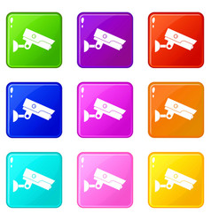 Security camera icons 9 set vector