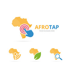set of africa logo combination safari and cursor vector image
