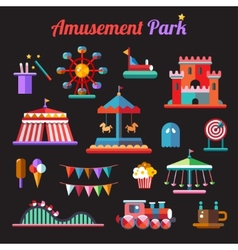 Set of flat design amusement park icons vector image