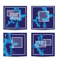 Set of four square cards abstract banners with vector