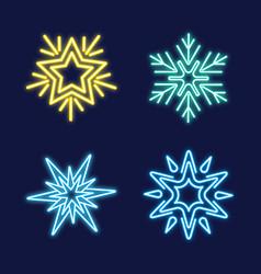 set of neon snowflakes vector image vector image