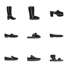 Shoes set icons in black style big collection of vector