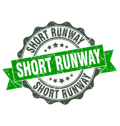 short runway stamp sign seal vector image vector image