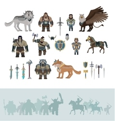 Stylized fantasy characters vector