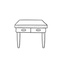 Table with drawers sketch icon vector image