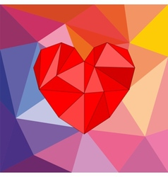 Valentines card with red triangle heart vector
