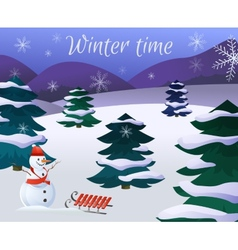 Winter Landscape Poster vector image vector image