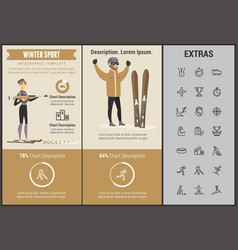 winter sport infographic template elements icons vector image vector image