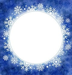 Winter watercolor round frame with snowflakes vector