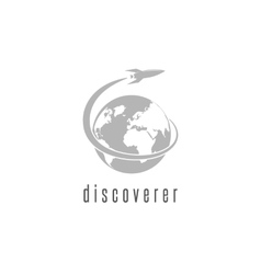 Rocket logo world discovery space shuttle vector image
