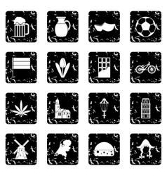 Netherlands set icons grunge style vector image