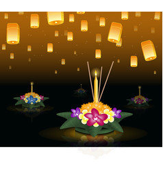 Loy krathong greeting card with floating lanterns vector