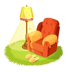 Cosy armchair with cushions yellow torchere vector image