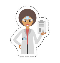 Cartoon doctor female with clip and headmirror vector