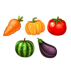 cartoon icons of vegetables vector image