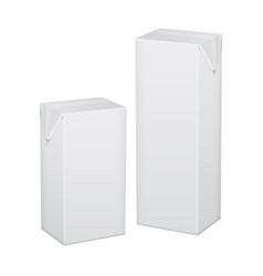 set of white cardboard package for beverage juice vector image