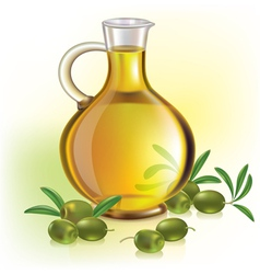 Olive oil from green olives vector image