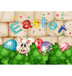 A bunny hiding with easter eggs vector