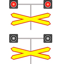 Railway crossing traffic light vector