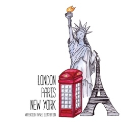 London red telephone box statue of liberty and vector