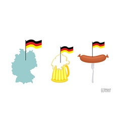Set icons german symbol map and german flag beer vector