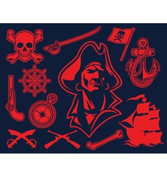 Pirate mascot set vector