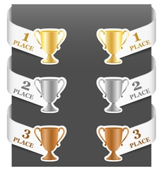 Left and right side signs - trophy cups vector