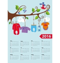 American calendar 2016 yearbaby boy fashion vector