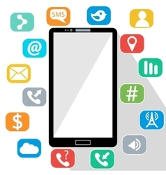Flat of modern mobile phone vector